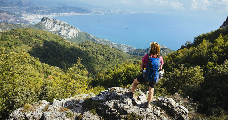 Hiking the Amalfi coastal trail Salerno Italy