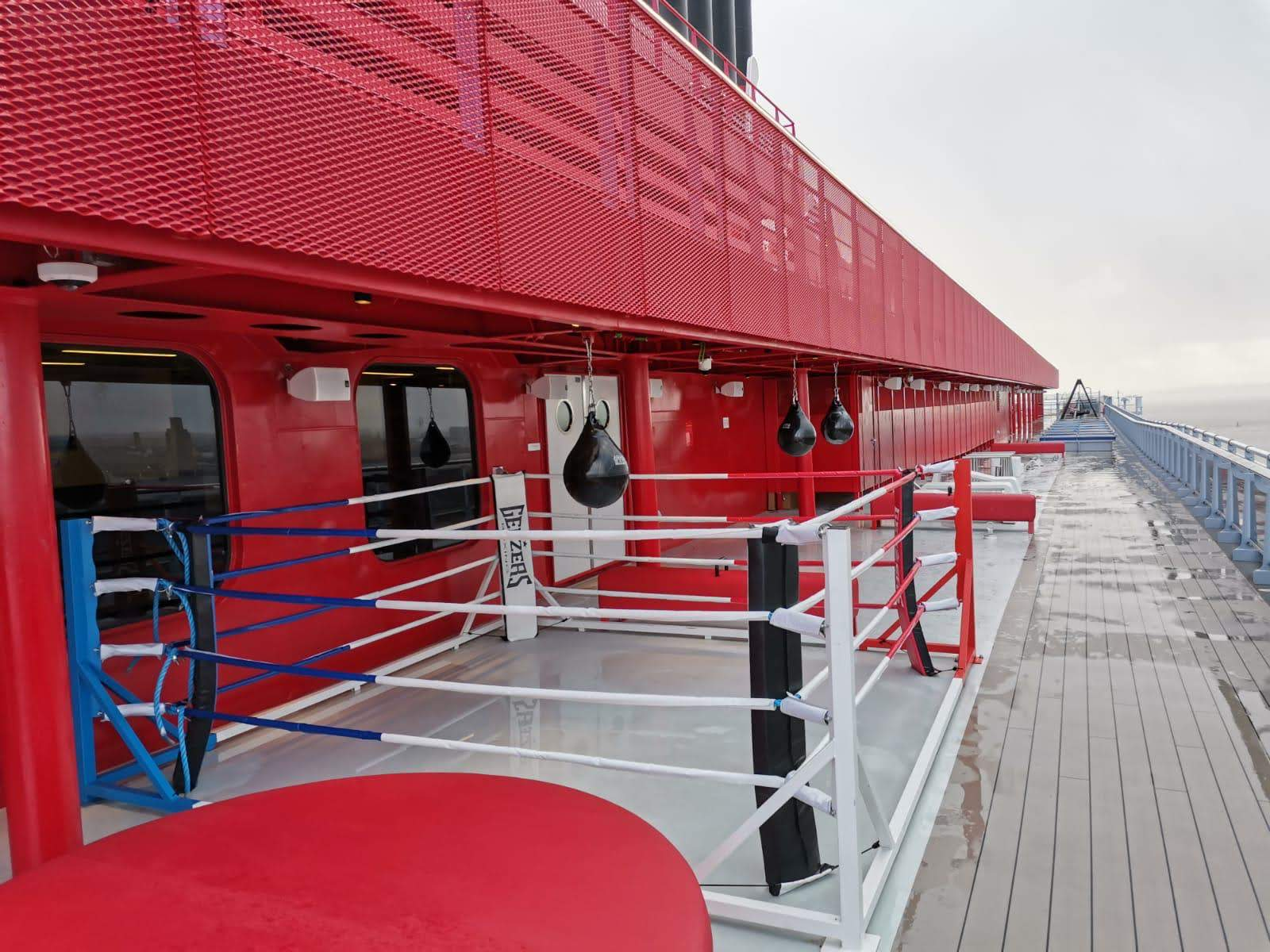 Boxing ring onboard the Scarlet Lady, Virgin Voyages