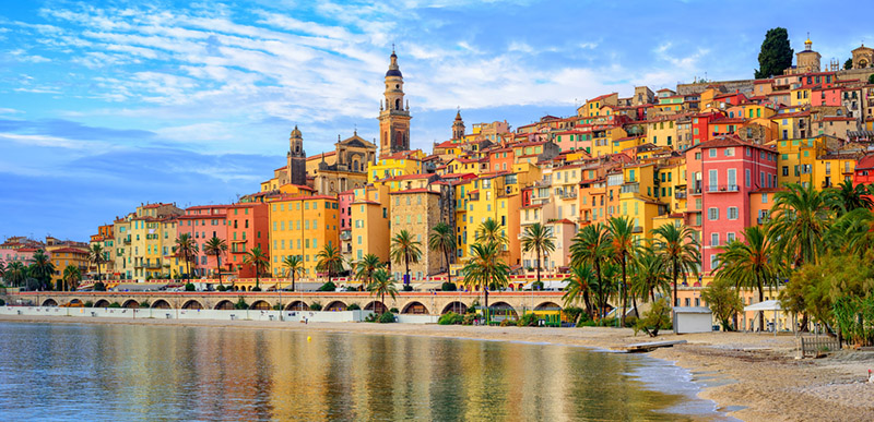 Old town Menton on french Riviera near Nice France
